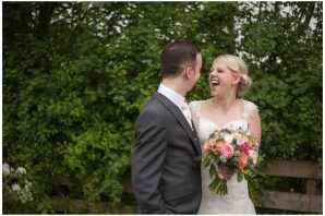 bride and groom laughing at each other photographed by delicious photography in Yorkshire