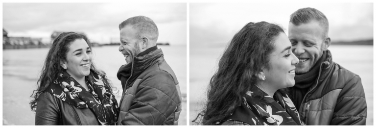 black and white laughing couple, scarborough beach, scarborough beach wedding photography