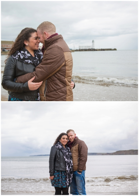 couple on the beach with beautiful landscape, happy couple, engaged, scarborough beach photos, wedding photography