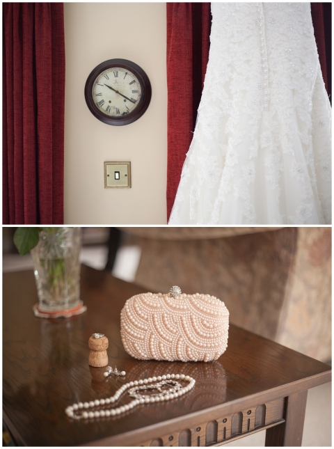 brides accessories and the clock on the wedding morning