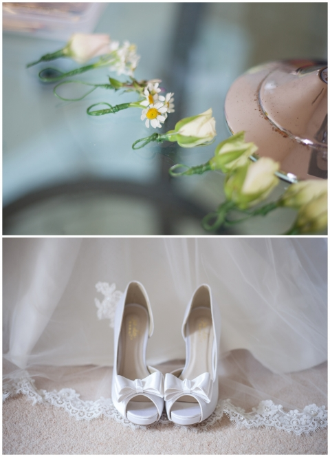 details of flowers and shoes at bridal preparations