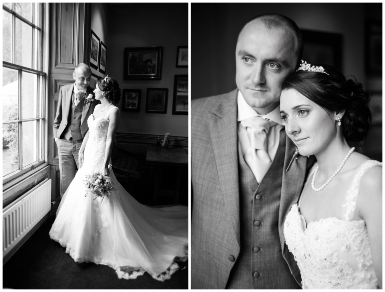 wedding photography in lancashire, black and white bride and groom portraiture
