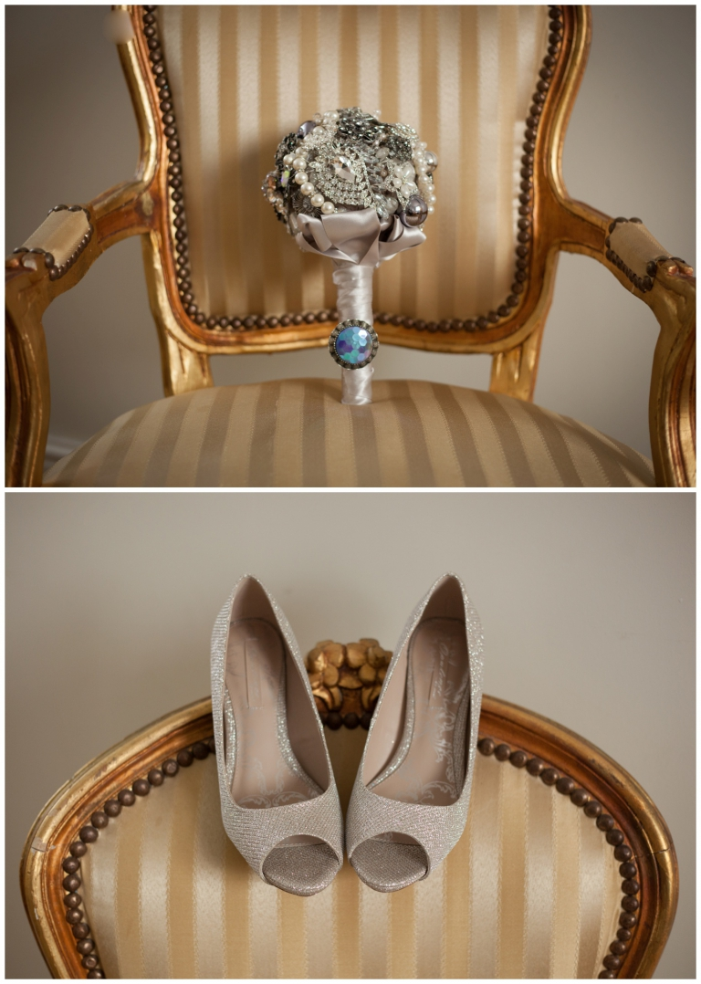 brooch bouquet and brides shoes