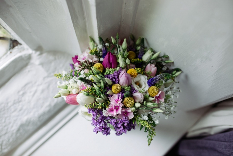 colourful bridal bouquet for strike house wedding